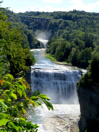 Letchworth Gorge Middle Falls and Genesee Arch Bridge