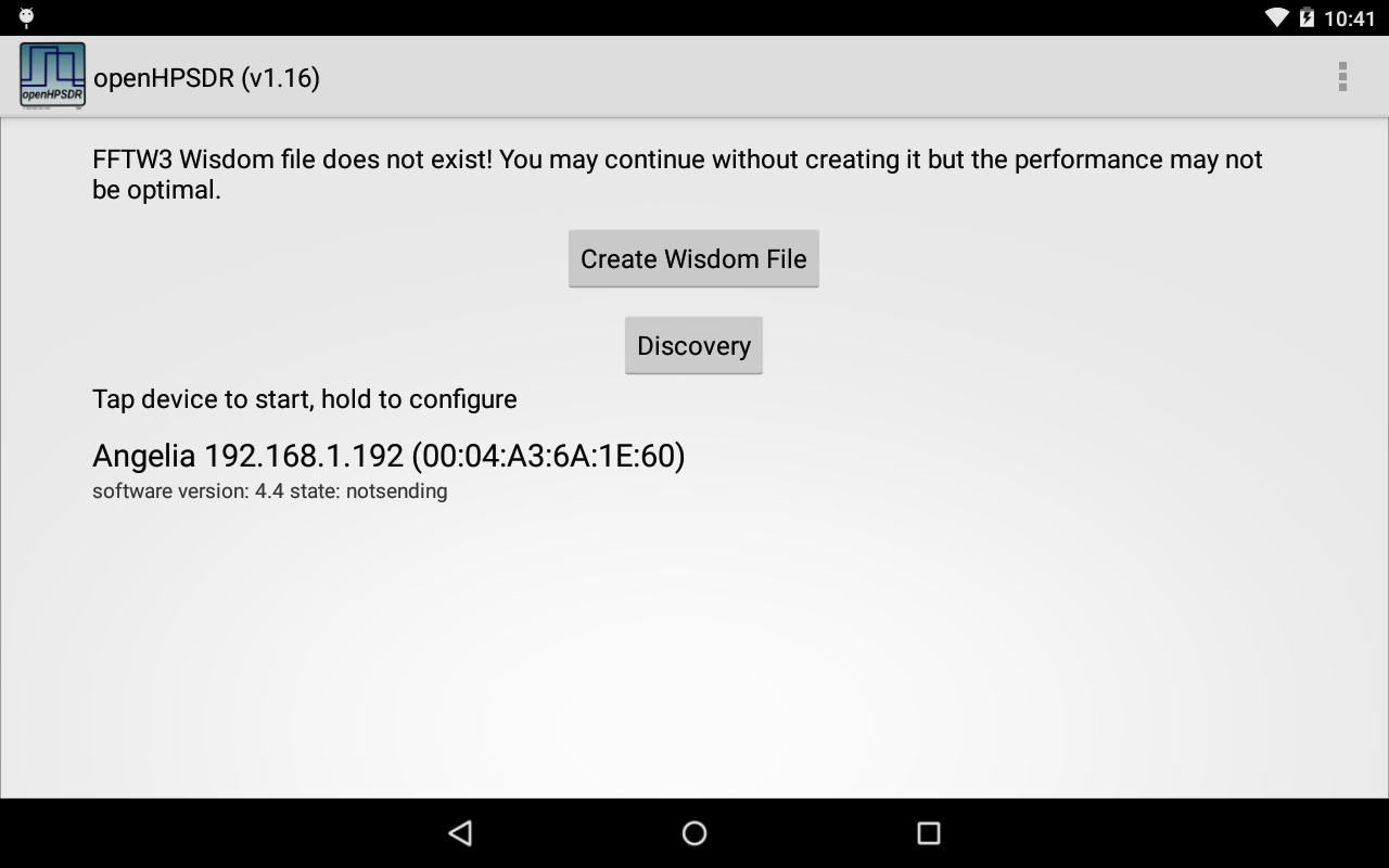 openHPSDR Android Application | G0ORX