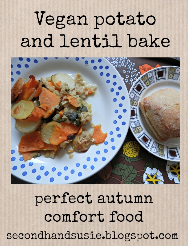 How to make vegan potato and lentil bake, the perfect autumnal comfort food. secondhandsusie.blogspot.com #comfortfood #vegan #veganrecipe #veganblog