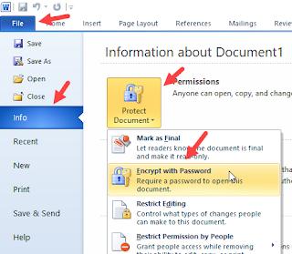 cara mengunci file word dengan password