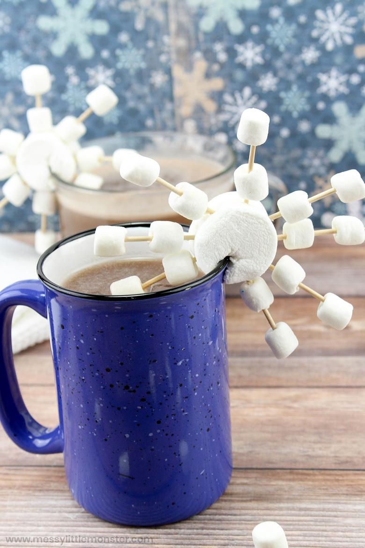 marshmallow snowflake STEM snow activity for kids