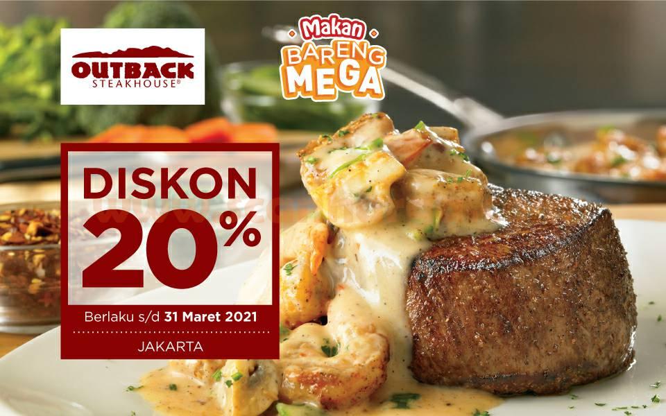 Promo OUTBACK STEAKHOUSE - DISKON 20% dengan Kartu Kredit Bank Mega