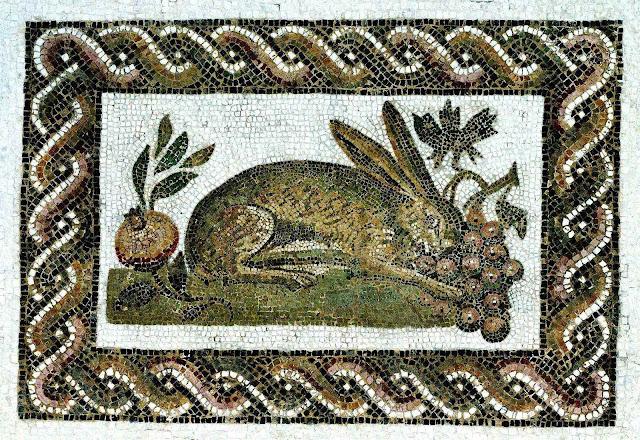 an Ancient Roman mosaic of a rabbit garden pest