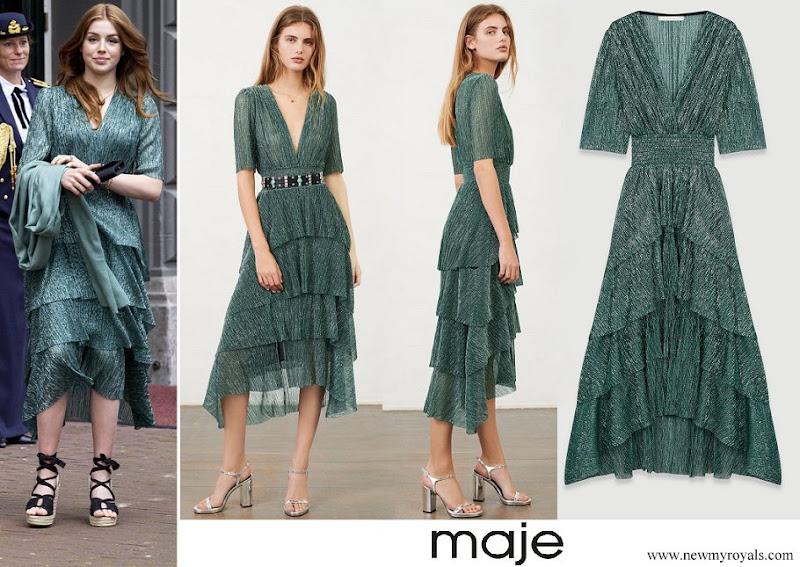 Princess Alexia wore Maje stretch lurex fabric dress