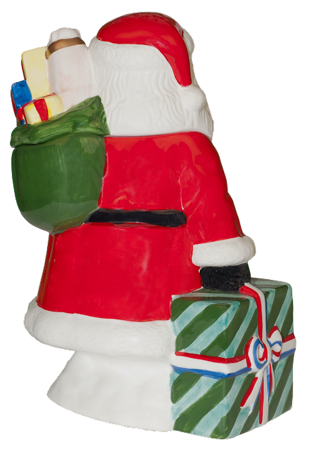 This is the back of the Santa cookie jar, clearly showing the sack of toys and the Christmas gift.