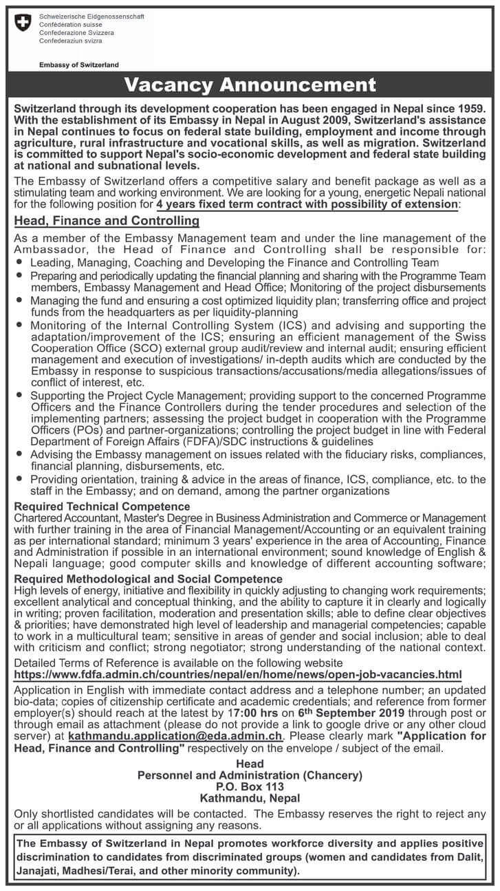 Embassy of Switzerland Job Vacancy for Head, Finance, and Controlling