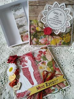 Zestaw na ślub kartka i pudełko w stylu sielankowym