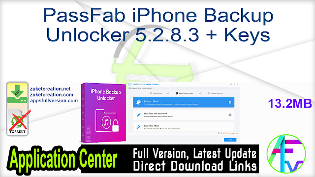 PassFab iPhone Backup Unlocker 5.2.8.3 + Keys