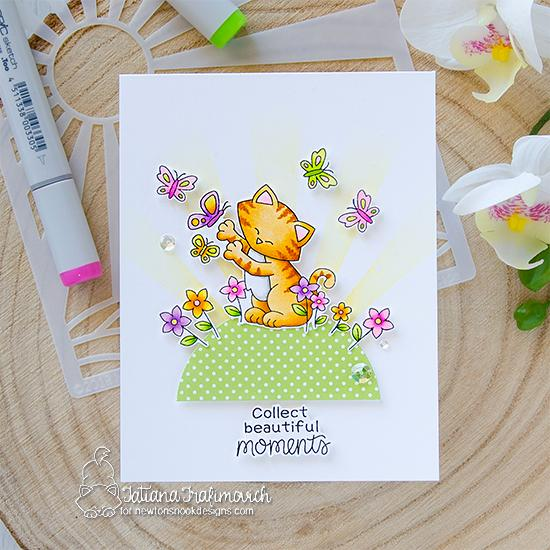 Cat Chasing Butterflies Card by Tatiana Trafimovich | Newton's Flower Garden Stamp Set and Sunscape Stencil by Newton's Nook Designs #newtonsnook #handmade