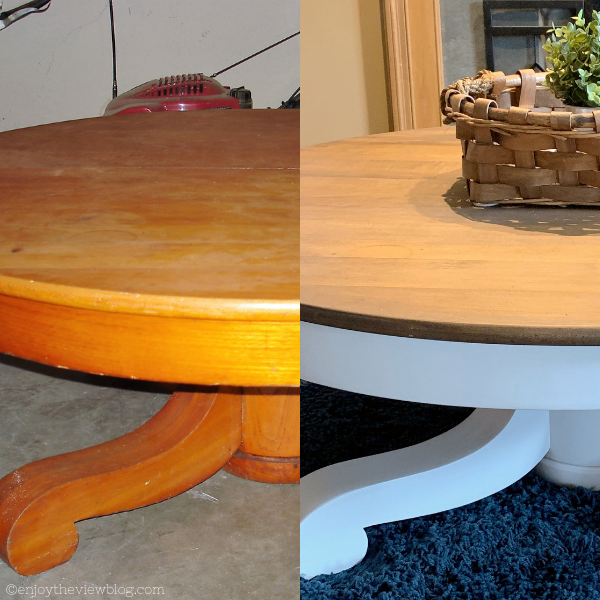 before and after of a round wood coffee table