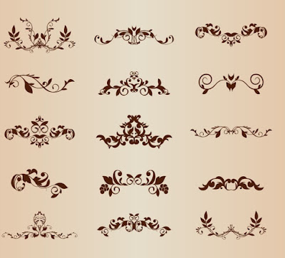 Set of vector floral ornamental elements for design - free vector