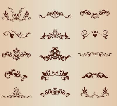 Set of vector floral ornamental elements for design  free