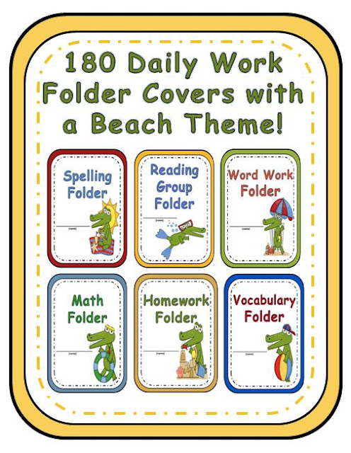 Fern Smith's Classroom Ideas beach themed daily work folder covers! 180 Pages of printable elementary education folder covers at TeachersPayTeachers!