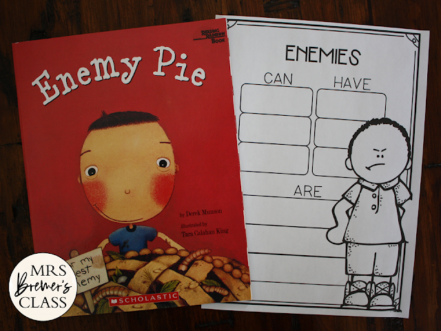 Enemy Pie book study activities unit with Common Core literacy companion activities and a craftivity for Kindergarten, First Grade and Second Grade