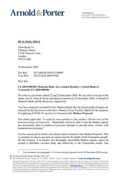 Chaburros presenta carta de Guaidó negando recursos para comprar vacunas
