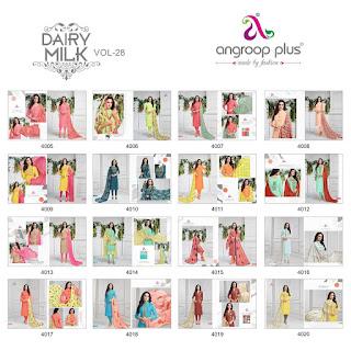 Angroop plus dairy milk vol 28 Churidar dress material