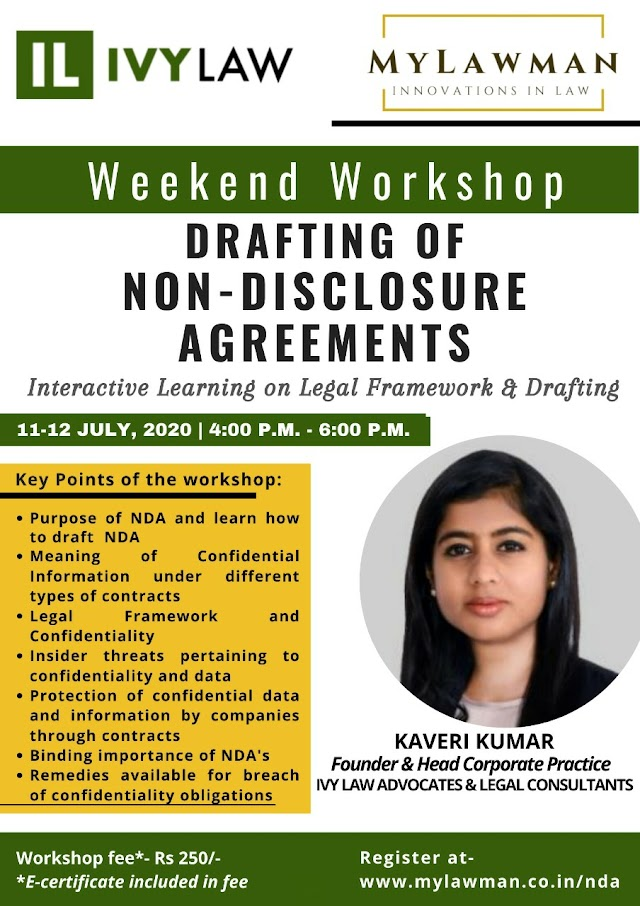 [Online] Weekend Workshop | Drafting of Non-Disclosure Agreements by MyLawman and IVY Law | 11-12 July, 2020 [Register Soon]