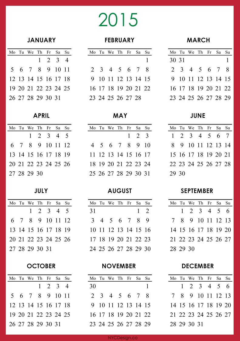 New york web design studio new york ny 2015 calendar for Free downloadable 2015 calendar template