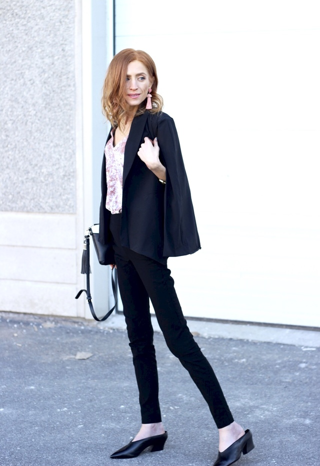 Cape Blazer-- Shein Black Shawl Collar Cape Sleeve Blazer, RW&CO Modern Stretch Legging, Zara Mules, Pink Velvet Dress, tassel earrings, Poppy & Peonies Crossbody