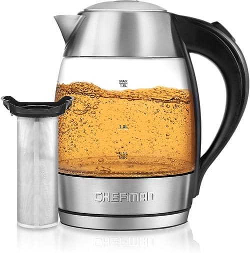 Chefman Electric Glass Kettle Fast Boiling W/LED Lights