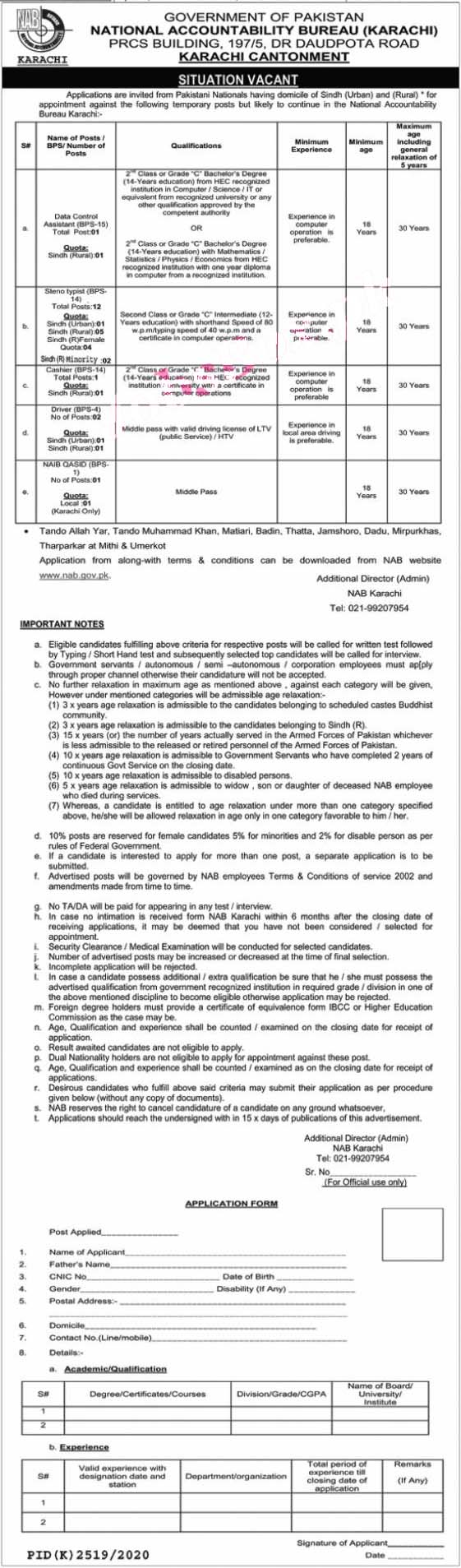 Latest National Accountability Bureau NAB Jobs 2021