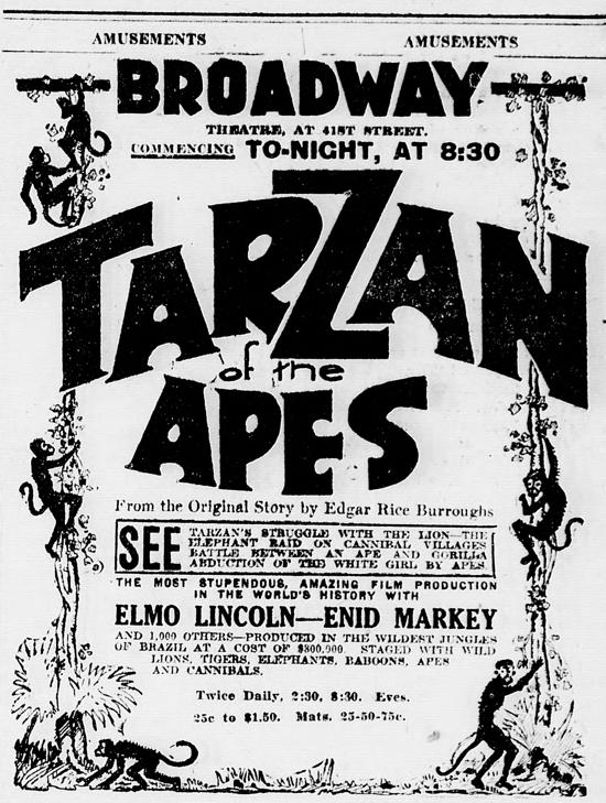 Tarzan of the Apes newspaper ad January 27, 1918