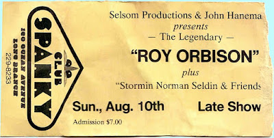 Roy Orbison ticket stub for a show at Club Spanky