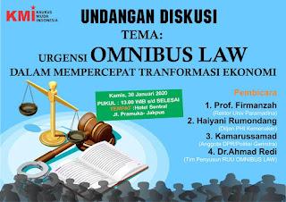 """Menarik, Diskusi KMI Kupas """"Urgensi Omnibus Law Mempercepat Transformasi Ekonomi Indonesia"""
