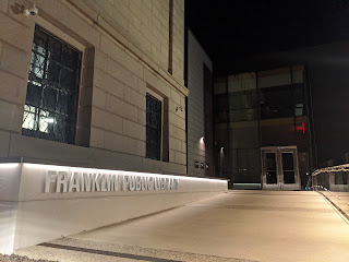 Franklin Public Library entrance at night