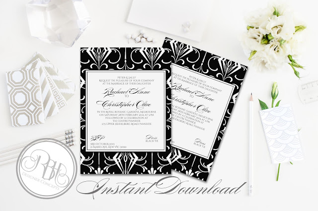 black white art deco invitation by rbhdesignerconcepts