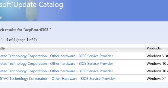 MTC0303 BIOS SERVICE DRIVERS FOR WINDOWS 10