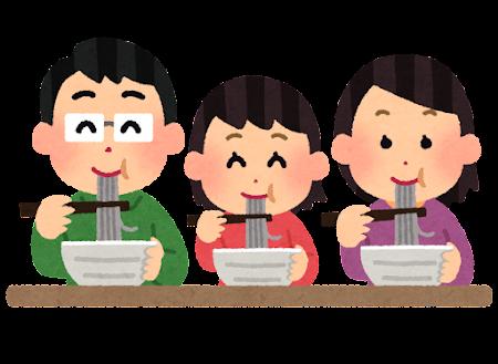 麺類を食べる家族のイラスト(蕎麦)