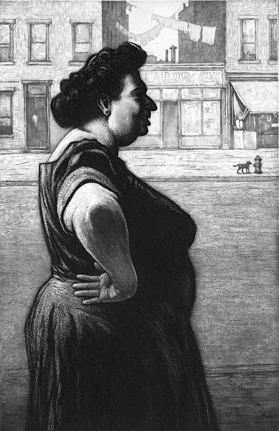 a Martin Lewis print 1939, Boss Of The Neighborhood, a big dominant smiling woman in profile