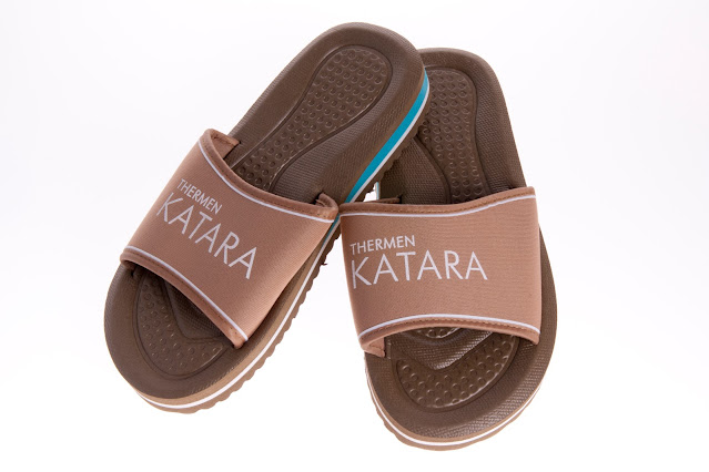 Custom made sauna slippers: Thermen Katara