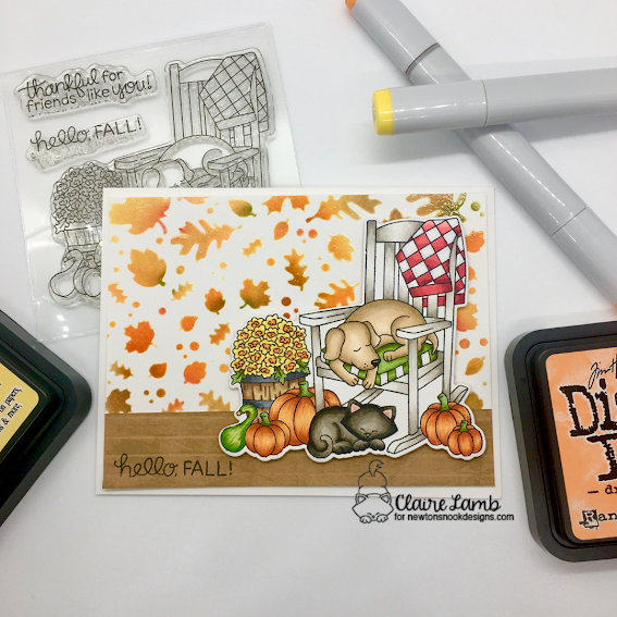 Hello fall by Claire features Falling Leaves and Fall Friends by Newton's Nook Designs;  #inkypaws, #newtonsnook, #autumncards, #cardmaking