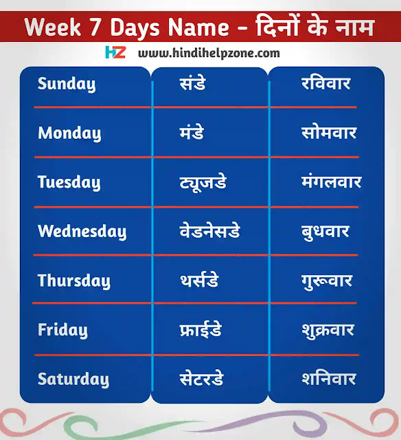 Week All 7 Days Name In Hindi And English - दिनों के नाम