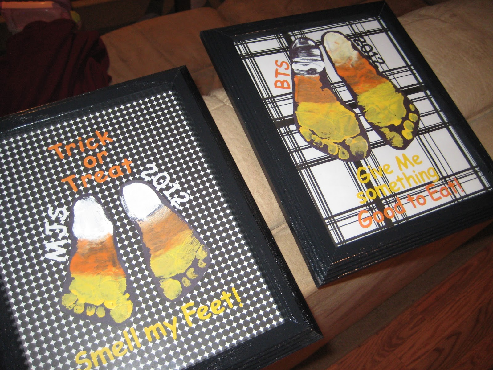 The finished result - candy corn foot print art