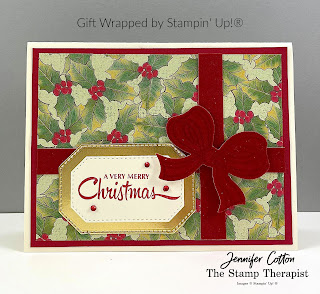 Gift Wrapped by Stampin' Up!® card.  The bow is Red Velvet Paper!  Details and link to video on blog.  #StampinUp #StampTherapist