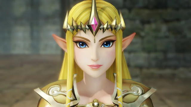 Princess Zelda is blonde lady with blue eyes and elven ears wearing a crown with pink gem