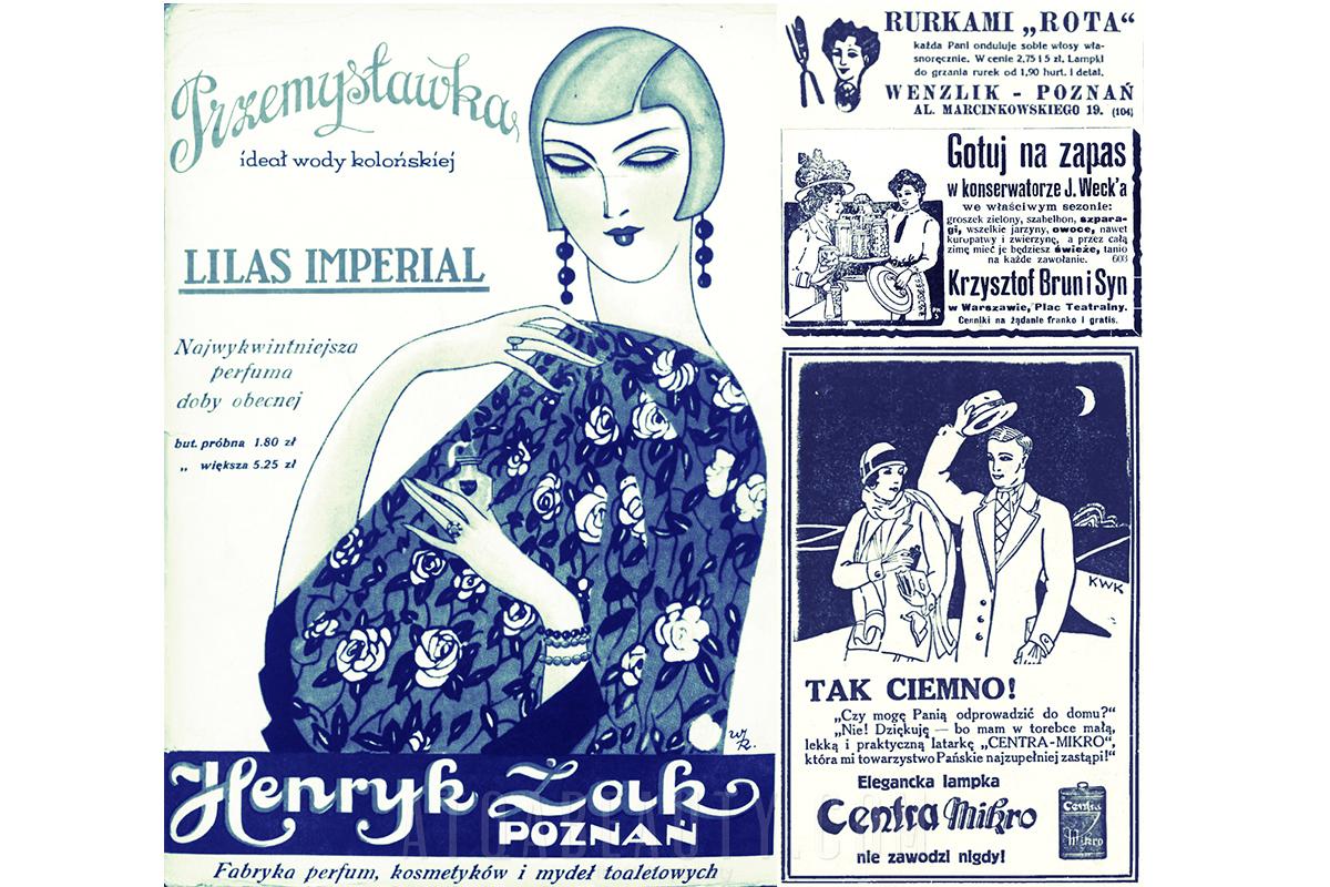 Reklamy prasowe: Przemysławka (1928), Rota (1928), Weck (1910), Centra Mikro (1928)