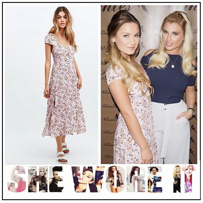 Cap Sleeve, Celebrity Fashion, Celebrity Style, Dress, Floral Print, Front Split, Light Pink, Midi Dress, Mink Pink, Sam Faiers, Square Neckline, V-Neck,