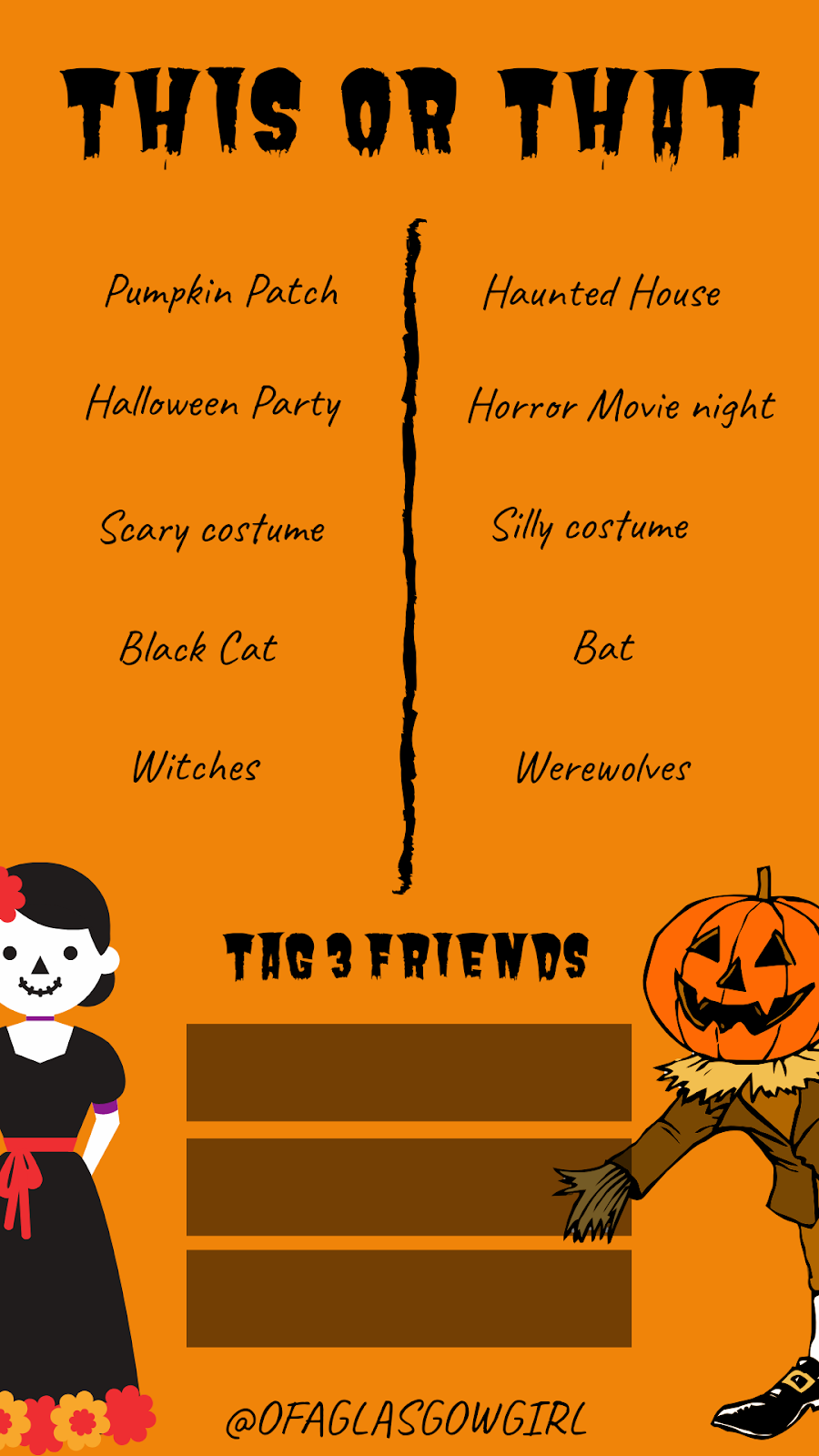 Free halloween inspired Instagram story template, a this or that choice template... on Thelifeofaglasgowgirl.co.uk