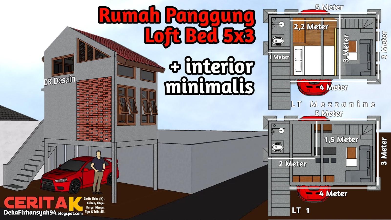 Desain Tiny House 5x3 Loft Bed