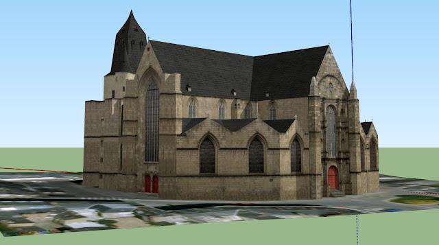 L'étonnant représentation de l'Église Saint-Germain en 3d et donc restituée dans un espace épuré...