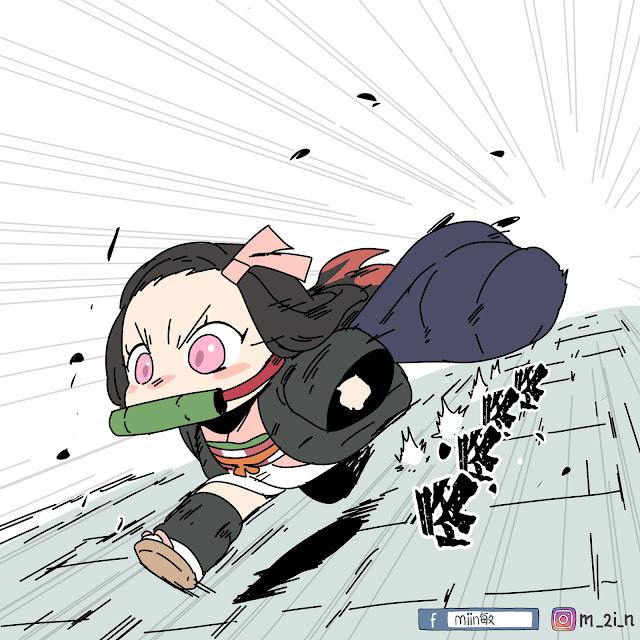 mini story  Funy Art Nezuko resourceful - Kimetsu No Yaiba Fan Art by Mïïn敏