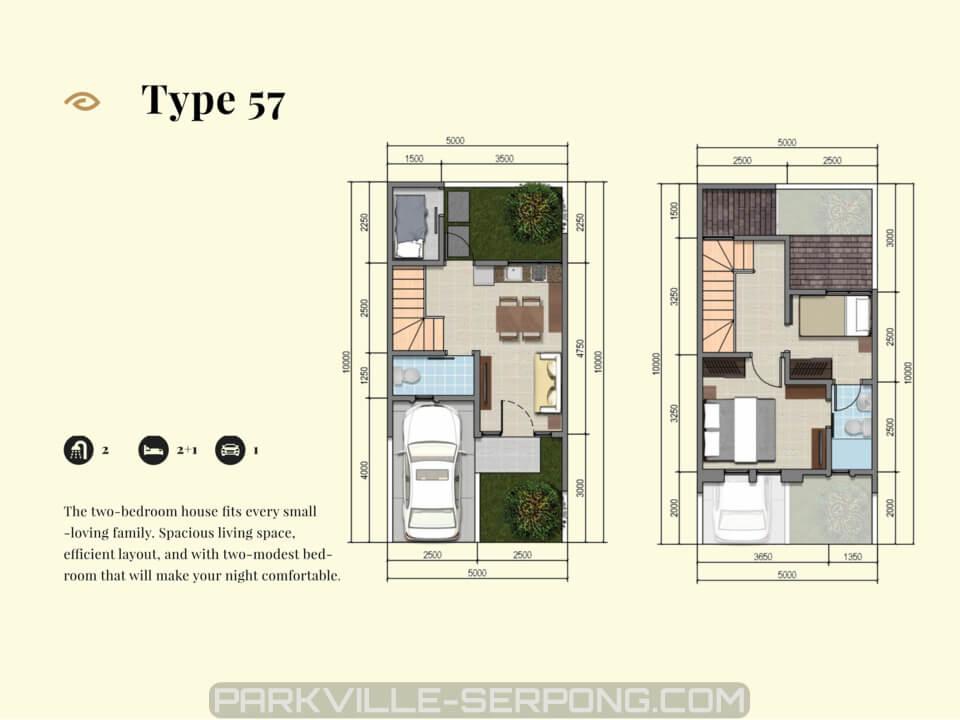 Denah Rumah Cluster Canola Tipe 57