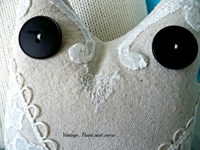 Drop Cloth Owl Pillow - beak made from leftover triangle of lace