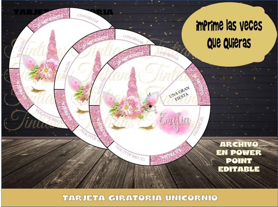 Mla Invitacion Giratoria Unicornio Gratis