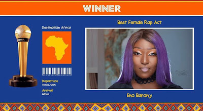"""Ghanaian Femcee, Eno Barony Emerges AFRIMMA """"Best Female Rap Act"""" Of The Year 2020 (Check Full List Of Winners)"""