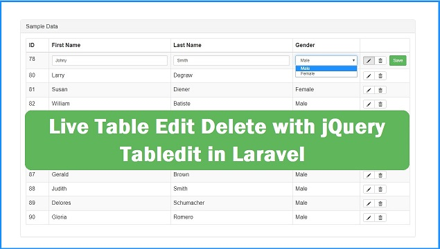 How to Update Delete Table row with jQuery Tabledit in Laravel